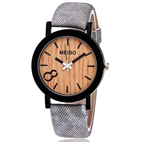 YUYOUG_watch yuyoug meibo Modeling Holz Getreide Quarz Herren-Armbanduhr Weichem Lederband Casual Holz Farbe Leder Armbanduhr Einheitsgröße e