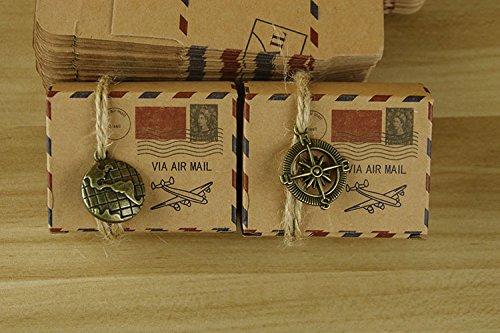 Kingsley 25pz globo + 25 pz bussola bomboniere vintage carta kraft candy scatole regalo, scatole cubo portaconfetti segnaposto tema viaggio mondo corda di canapa accessori vintage compresi