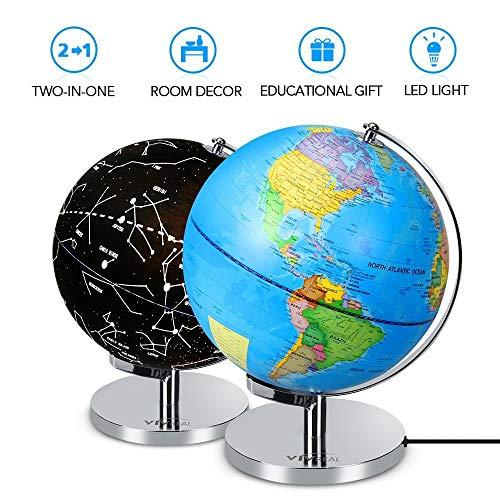 Beleuchtete Sternenkugel/Weltkugel mit Ständer, 3-in-1 Nachtlicht und Globus-Konstellation für Kinder, Zuhause Schlafzimmer, Dekoration, Kindergeburtstag, Geschenke