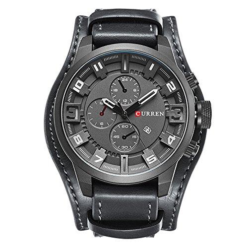 Manschette 22 Band Uhr Mm (Retro Luxus Weite Armbanduhr Cuff Uhr Manschette Uhr Kalender Drei Dekorative Kleine Zifferblatt Leder Uhrenarmband Armbanduhren für Herren, Grau Schwarz)