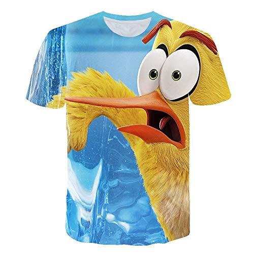 Fowii T-Shirts Herren Damen Ms Neutraler 3D-Druck Tops Kurzärmeliger Rundhalsausschnitt Cool Und Bequemer Baumwolle Locker Polos Angry Bird S