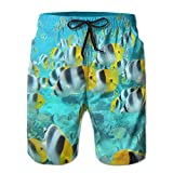 TRAzz Mens Beach Shorts Quick Dry Happy Fish Surf Board Home Shorts Swim-Trunks with Pocket-XXL