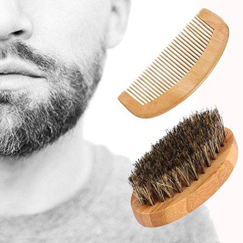 Gaddrt Hommes sanglier poils poils barbe moustache Brosse peigne dur ovale manche en...