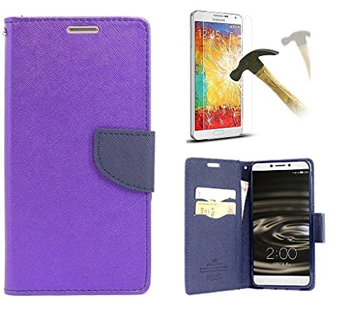 Sony Xperia C Mercury Flip Wallet Diary Card Case Cover (Purple+Tempered) By Mobile Life  available at amazon for Rs.219