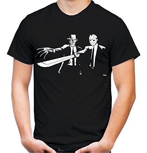 Pulp Fiction Freddy & Jason Männer und Herren T-Shirt | Spruch Tarantino Horror Geschenk (XL, Schwarz)
