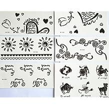 combineshopping última caliente venta diseño de moda impermeable no tóxicos tatuajes temporales pegatinas combinación 5pcs/paquete diseños diferentes, incluye flores/sol/corazón/Inglés Carta/animales/vaca/SCORPION/perro/caballo/Lion/pescado/etc.