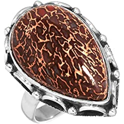Natural Dinosaur Bone Gemstone Ring Solid 925 Sterling Silver Stylish Jewelry Tamaño 7.75