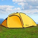 WolfWise 3-4 Personen Familienzelt, Professionelles Gruppenzelt Trekkingzelt, für Camping/ Wandern/ Outdoor, mit Tragetasche, Wasserdicht (Gelb)