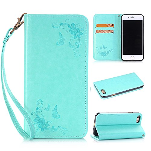 Pour iPhone 7, Rose Flowers en relief, motif en cuir PU JING ( Color : Darkblue ) Green