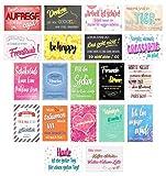 Set 20 Postkarten mit Sprüchen - Karten mit Spruch - Geschenkidee - Dekoidee - Liebe, Freundschaft, Leben, Motivation, lustig – Postcrossing - Geburtstagskarten Danke Gutschein