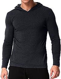 MODCHOK Men's Long Sleeve Hoodie T-Shirts Classic V-Neck Tee Tops Causal Hoodies