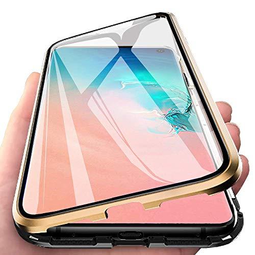 Funda Compatible para Galaxy S10 Adsorción Magnética 360 Grados Protección Carcasa Delantera y Trasera Colorear Vidrio Templado Metal Marco Delgada Bumper Cubierta Case (6)