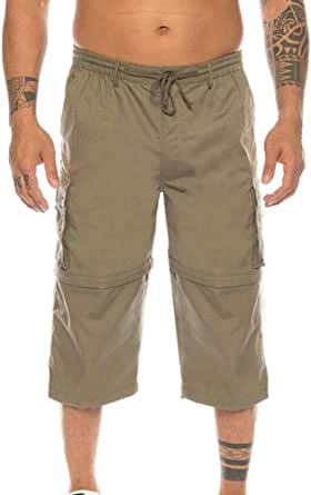huateng Removable Two-wear Shorts for Men—Loose Plus Size Multi-Pockets Cropped Cargo Pants Casual Outdoor Pants