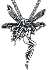 Idea Regalo - Aoiy - Acciaio Inossidabile Collana con pendente Unisex - fata angelo, catena di 61cm, aap067