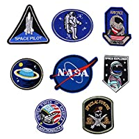 Iron on Patches Space Astronaut Dinosaur Badges Embroidered Motif Applique Assorted Size Decoration Sew On Patches DIY for Jeans Jackets, Clothing, Handbag, Shoes,Caps for Kids Adults