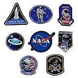 Toppe termoadesive con motivo spaziale, dinosauro, astronauta, ricamate, dimensioni assortite, per jeans, giacche, vestiti, borse, scarpe, cappelli per bambini e adulti NASA set