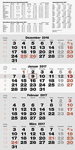 rido/idé Wandkalender/Vier-Monats-Kalender quattroplan 2, 1 Blatt = 4 Monate, 330 x 635 mm, Kalendarium 2017 (7033420)