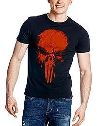 Camiseta de hombre de Daredevil Punisher Skull Marvel negro algodón