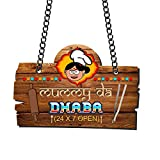 #3: YaYa Cafe Mothers Day Gifts for Mom Mummy Da Dhaba Kitchen Wall Door Hanging - Brown