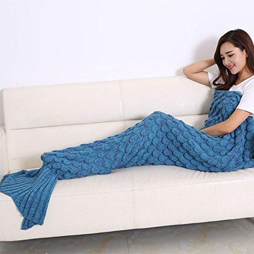 Crazy lin Gestrickte Meerjungfrau Schwanz Decke Warm Sofa Steppdecke Schlafsack 80 * 180CM (Dunkelblau)