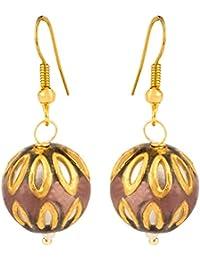 JaipurSe Ball Hook Earrings- Traditional Light Weight Jewellery For Women (Golden & Black)