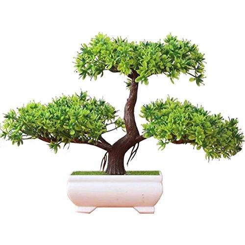 Artificial flor de la planta con Potted (6 colores) Decoración tabla sala estar afortunada Feng Shui Decorativa árboles floración,w1 , green