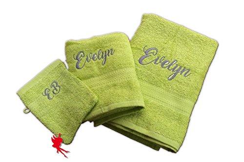 Duschtuch Handtuch Set bestickt mit Name incl. Waschlappen
