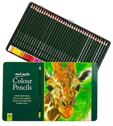 Buntstifte Koffer (MONT MARTE Premium Künstler Buntstifte Set für Anfänger bis Profis - 36 Stück Farbstifte in edlem Metall-Case - Malstifte - Ideal für farbenfrohe Zeichnungen)