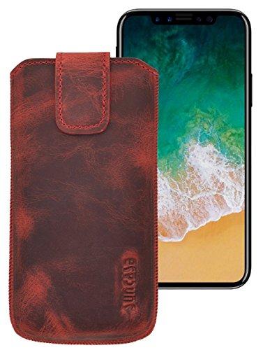 Suncase ECHT Ledertasche Leder Etui für iPhone X Tasche (mit Rückzugsfunktion und Klettverschluss) antik-cognac antik-rot