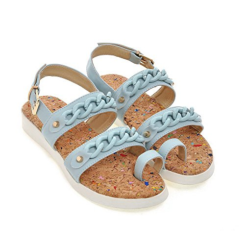 AllhqFashion Damen Weiches Material Offener Zehe Niedriger Absatz Sandalen Blau