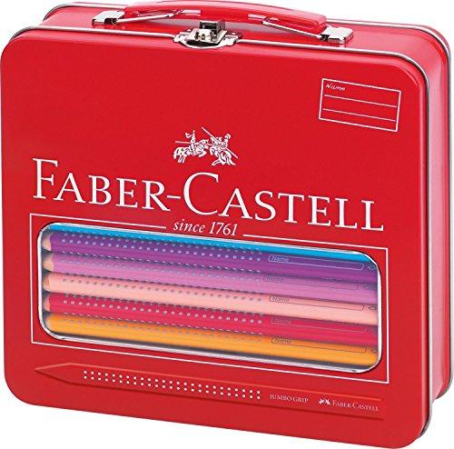 Faber-Castell 201312 – Maletín escolar de metal con 18 ecolápices de colores jumbo Grip, 1 ecolápiz triangular de grafito jumbo Grip, 1 pincel Clic&Go, 1 vaso de agua Clic&Go y 1 afilalápices