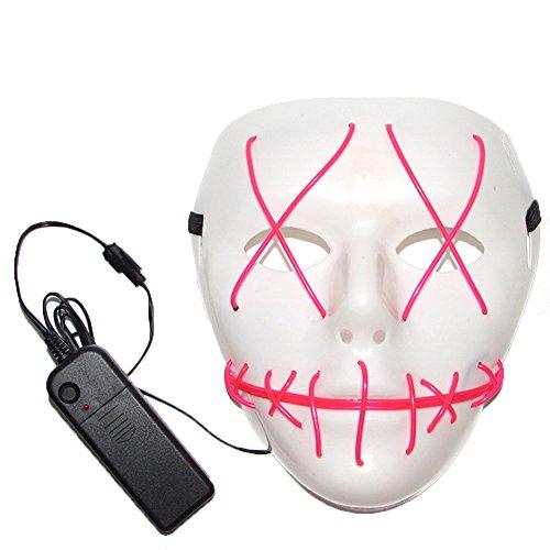 Uniqstore erschreckend Maske Halloween Cosplay LED Kostüm Erwachse Maske El LED Maske für Halloween Kostüme Pink