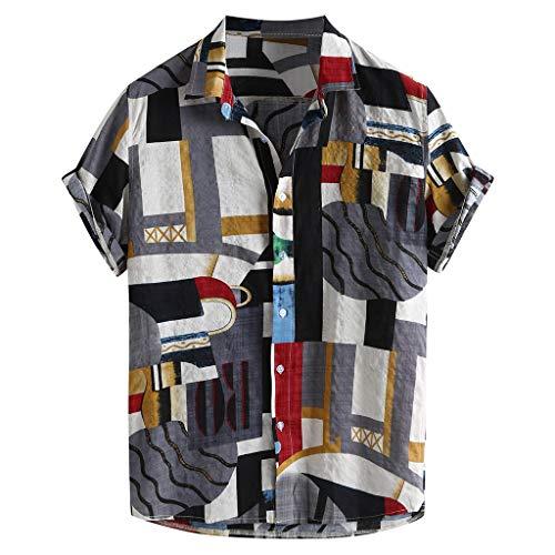 SoonerQuicker Camicia Estate Casual Funky Camicie da Uomo A Maniche Corte in Stile Etnico Estivo(Rosso+XXL)
