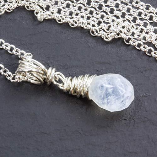 Zierliche Edelstein-Kette mit facettiertem weißem Regenbogen-Mondstein aus echtem 925 Sterling Silber/auch als Set mit Ohrringen oder Steckern/auch mit Magnetverschluß -