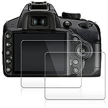 AFUNTA Protector de Pantalla para Nikon D3100 D3200 D3300 D3400, 2 Paquete la Cámara del Protector de Vidrio Templado Óptica