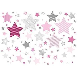 anna wand Wandsticker STARS 4 GIRLS ROSA/GRAU - Wandtattoo für Kinderzimmer/Babyzimmer mit Sternen in versch. Farben und Größen - Wandaufkleber Schlafzimmer Mädchen & Junge, Wanddeko Baby/Kinder