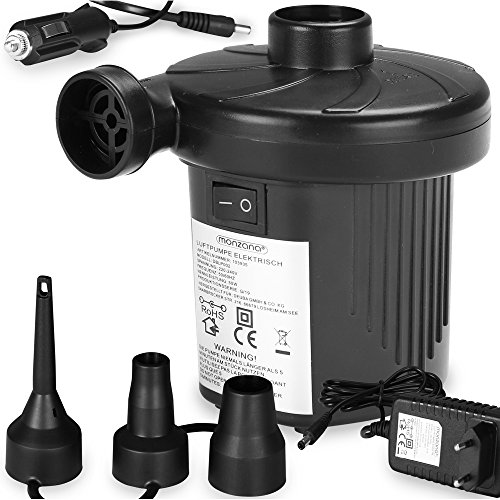 Monzana 2 in 1 Elektrische Luftpumpe zum auf-und Abpumpen Inkl.Anschlusskabel für Zigarettenanzünder und Netzteil für Die Steckdose