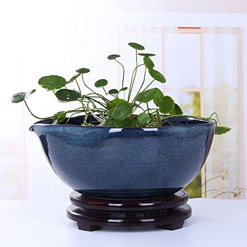 BOBE SHOP Intérieur Grand Pot De Fleur En Céramique Plante Hydroponique Pots Jardinière Poissons Réservoirs Salon Chambre Décoration Conteneurs avec Plateau ( taille : 40 cm )