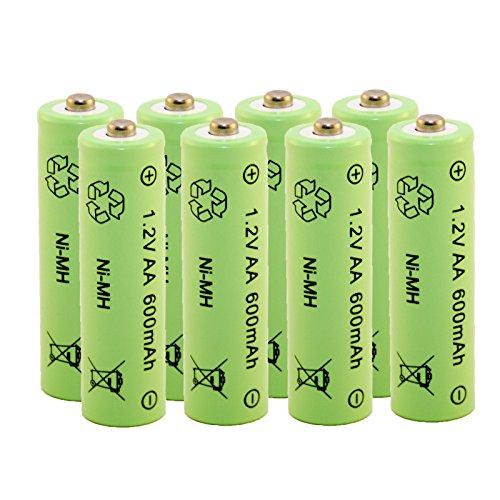 Akku aufladbare Batterie Ni-MH NiMH AA Mignon 1,2 Volt 600mAh Solar 8 STÜCK