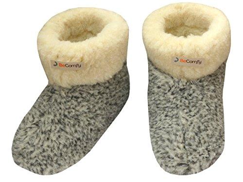 BeComfy Pantoufles laine chaussons pour hommes / femmes semelle en cuir ou antiderapante Modele XH Leo