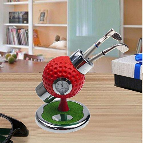 crestgolf größer Ball Stift Halter mit 3Stück Golf Club Form Kugelschreiber, eine Uhr Embedded und Golfplatz, rot - Halter Stift Uhr