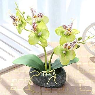 SparY Simulación Bonsái, Jardín con Macetero Escritorio para Oficina Paisaje Mariposa Orquídea Boda Falsos Flores Decorativo Planta Artificial en Maceta Regalo Casa Adornos