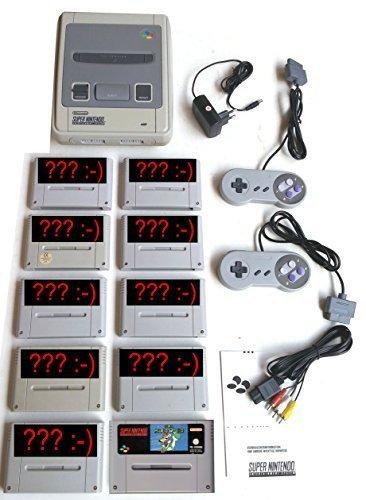 Sammlung: Super Nintendo SNES Konsole inkl. Super Mario World + 2 Controller + Kabel + Netzteil + 9 weitere Zufallsspiele Super Mario World 2 Snes