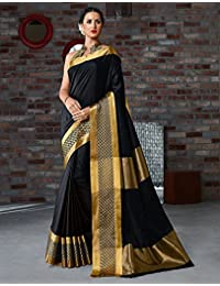(MACUBE SAREE) Cotton Black Color New Designe Saree With Blouse Piece For Women New Latest Designe Of 2018.