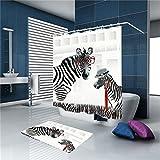 Tkopainsde Digitale 3D-Vorhang Badematte Kit Schönen Zebra Dusche Mit Glaskabine Vorhang Dick Wasserdicht Anti-Schimmel Gardinen Badezimmer Duschvorhang, 165 Cm * 180 Cm