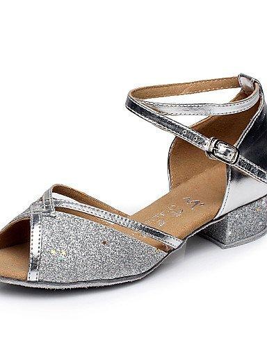 ShangYi Chaussures de danse ( Bleu / Argent / Or / Fuchsia ) - Non Personnalisables - Talon Bottier - Flocage - Ventre / Latine / Salsa Blue