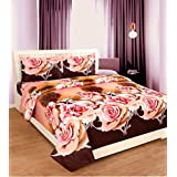 Super India Polycotton Brown Double Bed-Sheet With 2 Pillow Covers - (3 PC Set)