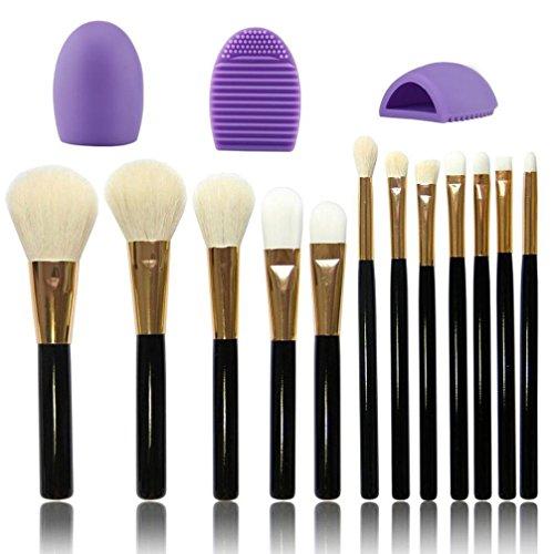 Saingace 12pcs Brosse de Maquillage Oeil Pinceau de Maquillage Brosse Set + 1pcs Maquillage Nettoyant