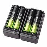 4 Packs 18650 Wiederaufladbare Batterie + 2 Packs intelligentes Ladegerät, Siswong 5800mAh Li-ion 3.7V Batterie Für Taschenlampe Lampe Fackel