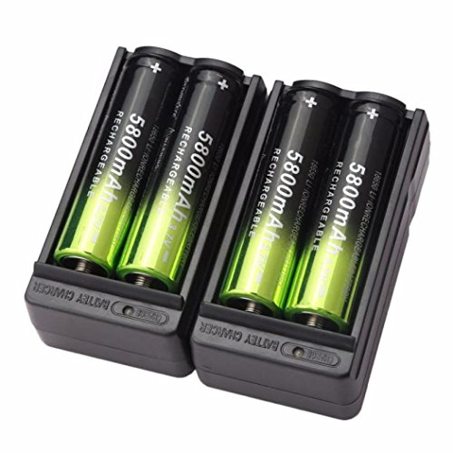 4 Stücke 18650 Wiederaufladbare Batterie + 2 Stücke intelligentes Ladekabel, Siswong 5800mAh Li-ion 3.7V Batterie Für Taschenlampe Lampe Fackel (Wohnwagen Für Dummies)